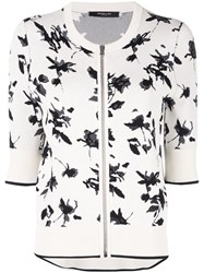 Derek Lam Floral Jacquard Knit Cardigan With Zipper White