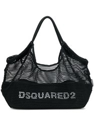 Dsquared2 Logo Fishnet Tote Bag Black