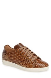 Mezlan Men's Hickman Genuine Crocodile Sneaker Taupe Beige