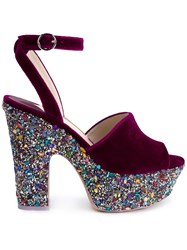 Sophia Webster 'Pip' Platform Sandals Pink And Purple