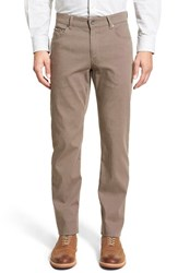 Men's Brax Flat Front Stretch Cotton Trousers Nut