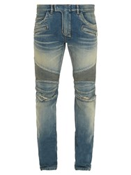Balmain Distressed Biker Slim Leg Jeans Denim