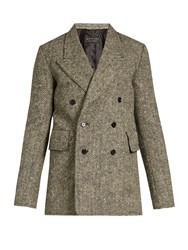 Burberry Double Breasted Herringbone Tweed Blazer Brown Multi
