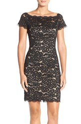 Women's Adrianna Papell Off The Shoulder Lace Sheath Dress Black Nude