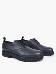 Valentino Navy Grained Leather Derby Shoes
