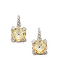 Judith Ripka Canary Crystal White Sapphire And Sterling Silver Cushion Drop Earrings Silver Yellow