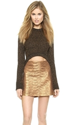 Torn By Ronny Kobo Sultana Crop Sweater Black Bronze