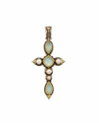Konstantino Amphitrite Long Agate And Pearl Cross Pendant Enhancer Blue