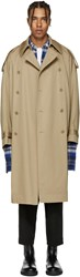 Lad Musician Beige Double Breasted Trench Coat