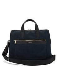 Paul Smith Leather Trimmed Canvas Briefcase Navy