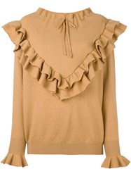 Stella Mccartney Ruffled Detail Jumper Brown