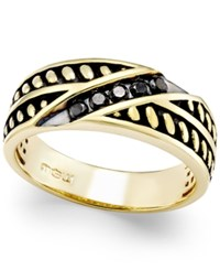 Macy's Men's Black Diamond Antique Look Band 1 4 Ct. T.W. In Black Enamel And 10K Gold