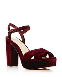 Imagine Vince Camuto Valora Velvet High Heel Platform Sandals Burgundy