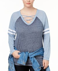 Almost Famous Trendy Plus Size Strappy Rugby T Shirt Navy Denim