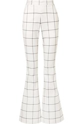 Rebecca Vallance Pierre Checked Twill Flared Pants Ivory