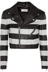 Saint Laurent Striped Leather Jacket Black