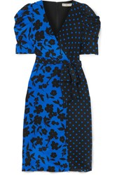 Alice Olivia Siona Wrap Effect Printed Silk Crepe De Chine Dress Blue