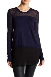 Bcbgeneration Knit And Woven Shirttail Sweater Blue