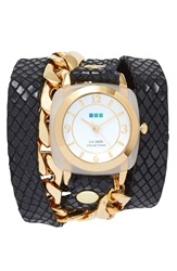 La Mer 'Malibu' Leather And Chain Wrap Watch 38Mm Nordstrom Online Exclusive Black Gold