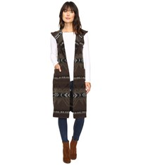 Dylan By True Grit Beacon Blanket Long Vest With Hood Brown Olive Women's Vest