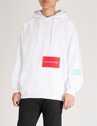 Ck Calvin Klein Multi Patch Cotton Blend Hoody Bright White Sky Blue