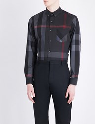 Burberry Thornaby Check Print Regular Fit Cotton Blend Shirt Charcoal