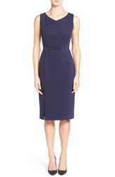 Women's Classiques Entier Italian Ponte Sheath Dress With Piping Navy Evening