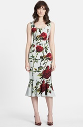 Dolcegabbana Rose Print Cady Sheath Dress Mint Red