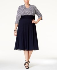 Jessica Howard Plus Size Sleeveless Printed Midi Dress And Bolero Jacket Dark Blue