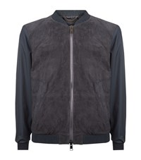 Pal Zileri Contrast Sleeve Suede Bomber Jacket Male