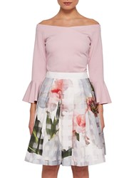 Ted Baker Kayteei Flute Sleeved Bardot Top Dusty Pink