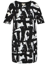 Celuu Gina Geometric Print Dress Black White