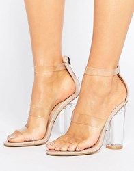 Truffle Collection See Through Heel Sandal Beige