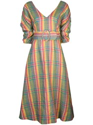 Nicholas Belted Check Dress Multicolour