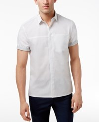 Inc International Concepts Men's Stylized Hidden Placket Shirt Only At Macy's White