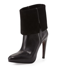 Cnc Costume National Leather And Suede Platform Ankle Boot Black