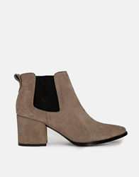 Bertie Panola Grey Suede Chelsea Heeled Ankle Boots