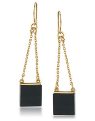 Trina Turk 14K Gold Plated Linear Drop Pierced Earrings Black