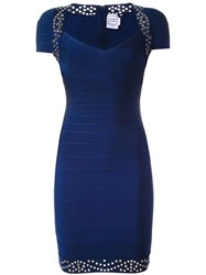 Herve Leger Studded Fitted Dress Blue