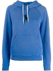 Polo Ralph Lauren Logo Embroidered Hoodie Blue