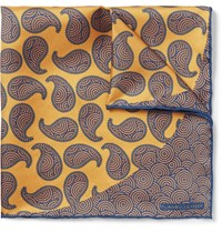 Turnbull And Asser Printed Silk Twill Pocket Square Gold