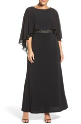 Sangria Plus Size Women's Chiffon Capelet Overlay Embellished Waist Gown