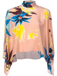 Delpozo Floral Print Flared Blouse Pink And Purple