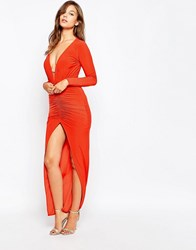 City Goddess Plunge Front Maxi Dress Wth Split And Ruching Orange