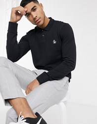 Original Penguin Icon Logo Long Sleeve Pique Polo In Black