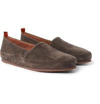 Mulo Shearling Lined Suede Slippers Gray