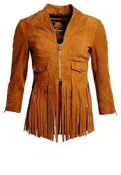 Superdry Neonomad Leather Jacket Tan Brown