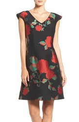 Julia Jordan Women's Floral Jacquard Fit And Flare Dress