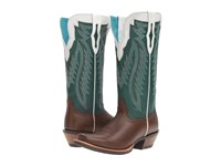 Ariat Futurity Chocolate Lizard Print Bright Emerald Cowboy Boots Brown