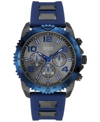 Guess Men's Chronograph Blue Silicone Wrapped Gunmetal Ion Plated Stainless Steel Bracelet Watch 45Mm U0599g2